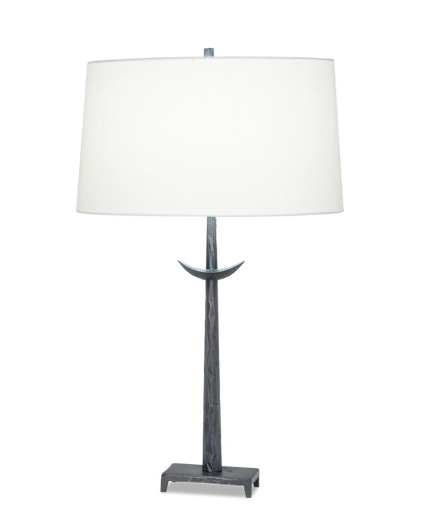 FlowDecor Roman Table Lamp in metal with antique black finish and off-white linen oval shade (# 4497)