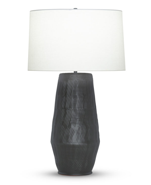 FlowDecor Sebastian Table Lamp in ceramic with black and off-white linen tapered drum shade (# 4499)