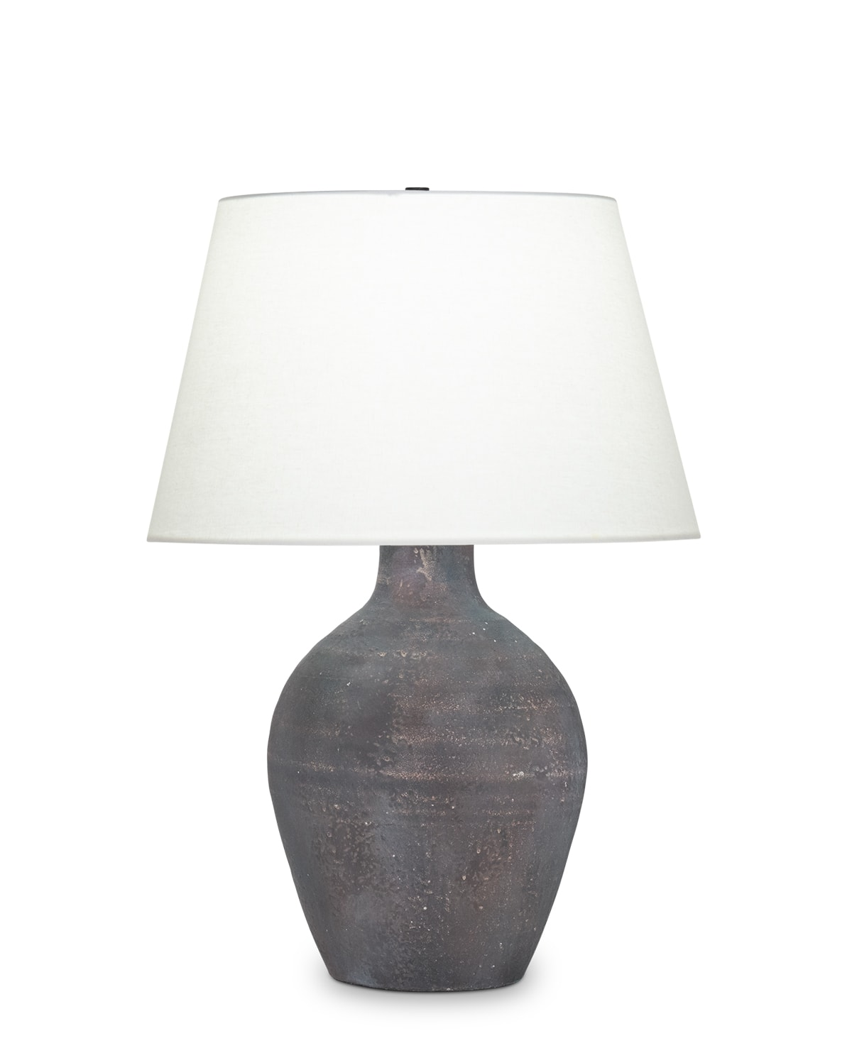 FlowDecor Theo Table Lamp in ceramic with rustic brown and off-white linen tapered drum shade (# 4507)