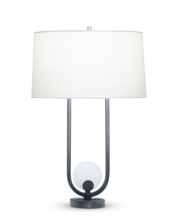 FlowDecor Archie Table Lamp in metal with gunmetal finish and alabaster and off-white linen oval shade (# 4516)