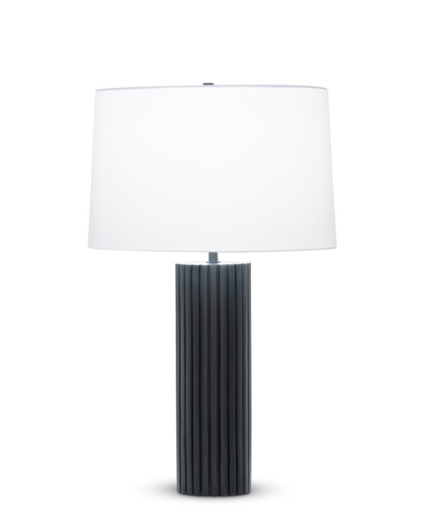 FlowDecor Bluth Table Lamp in resin with black matte finish and off-white cotton tapered drum shade (# 4518)
