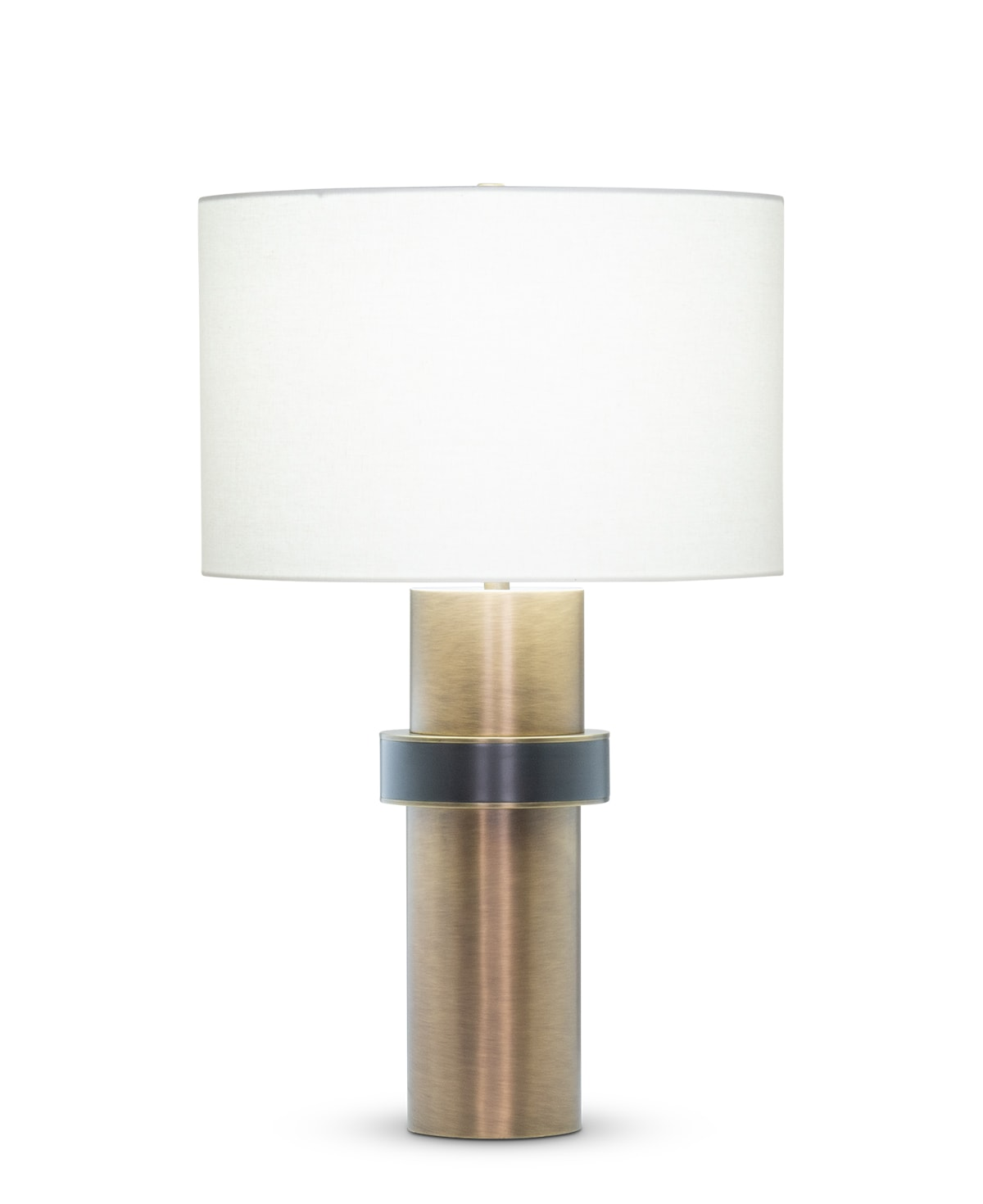 FlowDecor Carlton Table Lamp in metal with antique brass & gunmetal finishes and off-white linen drum shade (# 4530)