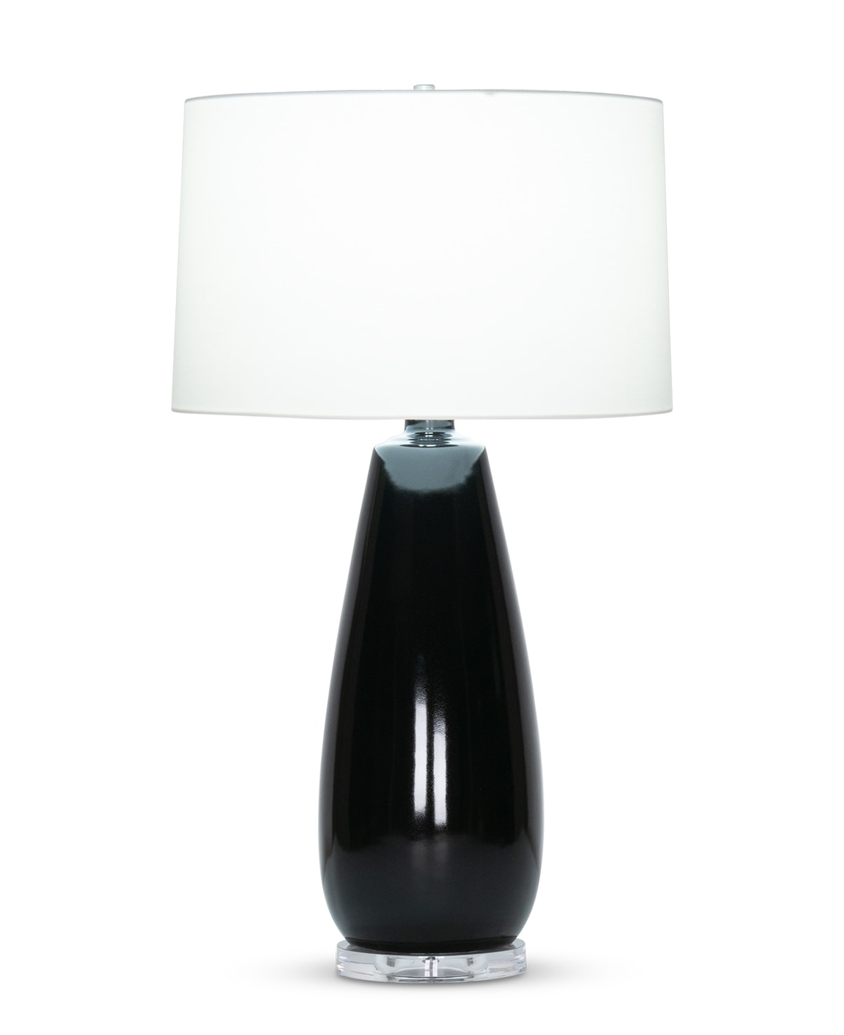 FlowDecor Daphne Table Lamp in ceramic with black gloss finish and acrylic base and off-white cotton tapered drum shade (# 4509)
