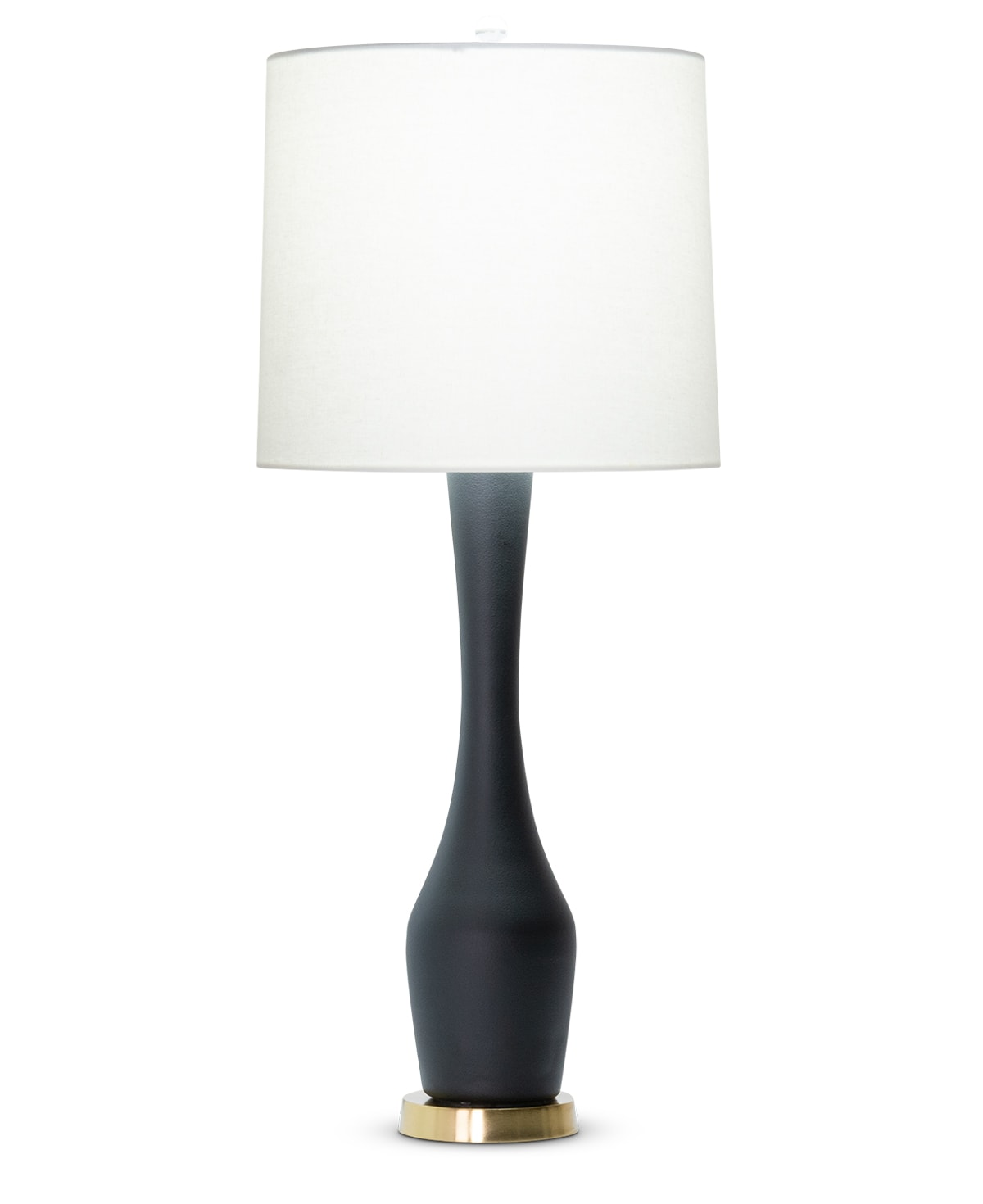 FlowDecor Durst Table Lamp in mouth-blown glass with black matte finish and metal with antique brass finish and off-white linen tapered drum shade (# 4514)
