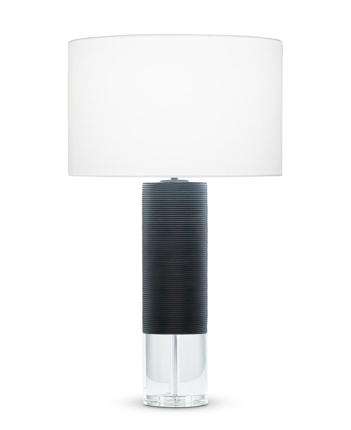 FlowDecor Locke Table Lamp in resin with black matte finish and finely ribbed surface and crystal and white linen drum shade (# 4521)