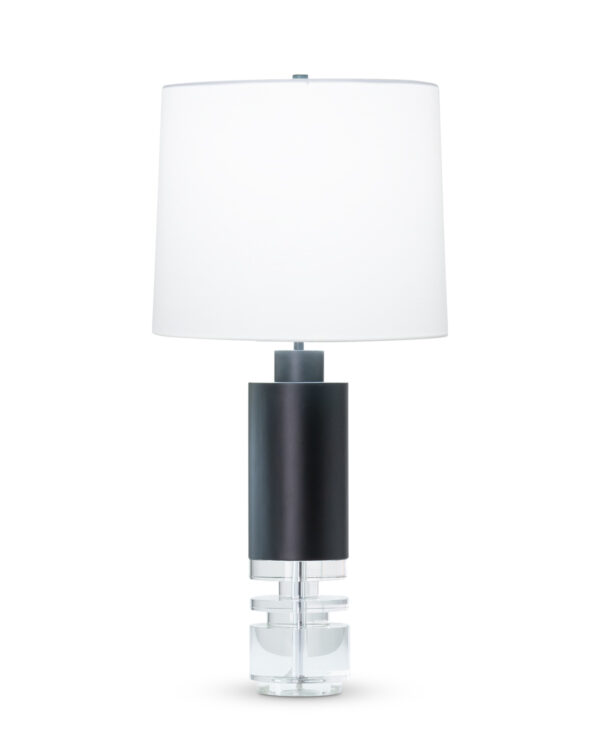 FlowDecor Marcia Table Lamp in crystal and metal with black matte finish and off-white cotton tapered drum shade (# 4526)