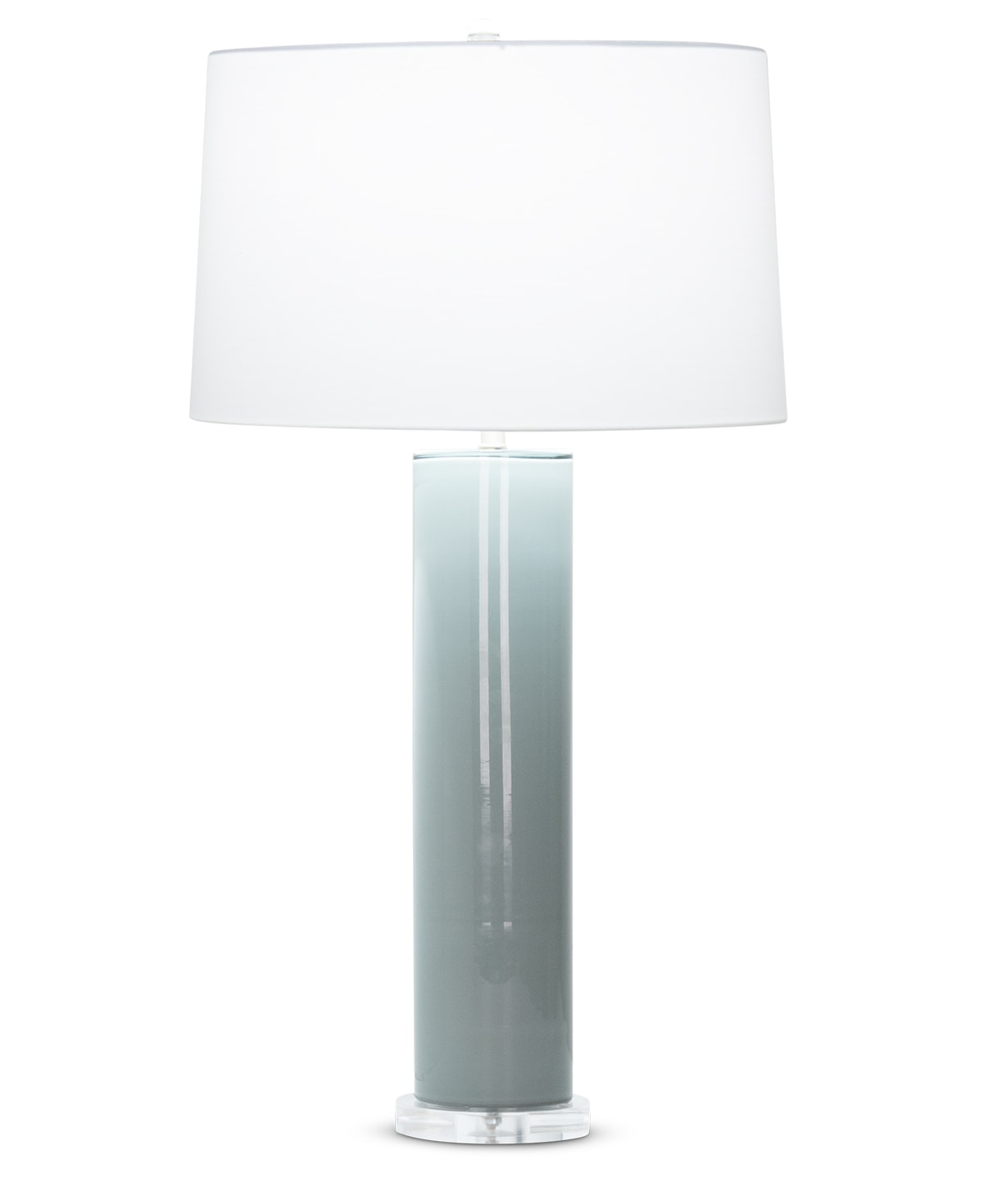 FlowDecor Miranda Table Lamp in mouth-blown glass with grey-blue finish and acrylic base and off-white cotton tapered drum shade (# 4510)