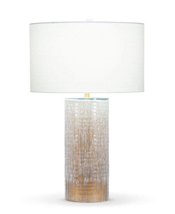 FlowDecor Moraine Table Lamp in mouth-blown glass with brown finish and off-white linen drum shade (# 4070)