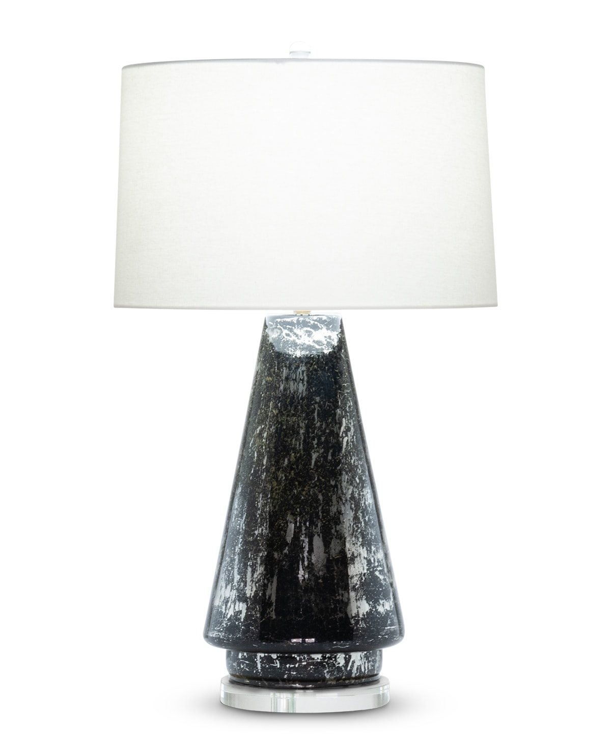 FlowDecor Morgan Table Lamp in mouth-blown glass with black and silver finish and acrylic base and off-white linen tapered drum shade (# 4513)