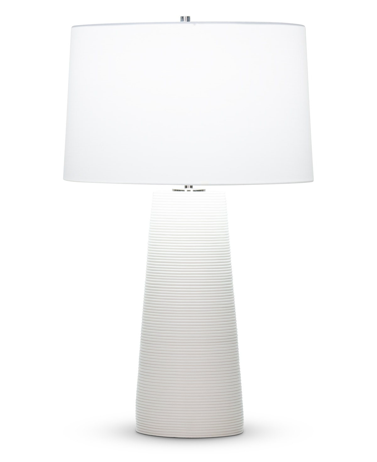 FlowDecor Omar Table Lamp in resin with off-white matte finish and finely ribbed surface and off-white cotton tapered drum shade (# 4517)