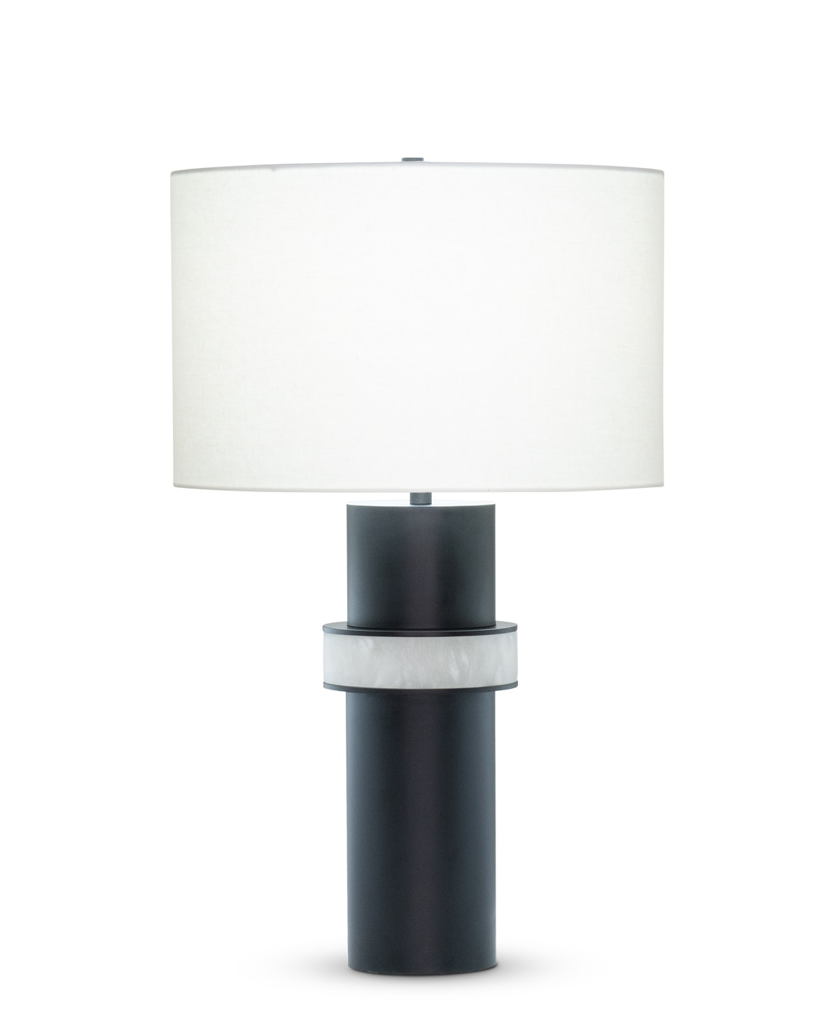 FlowDecor Ricardo Table Lamp in metal base with black matte finish and alabaster and off-white linen drum shade (# 4529)