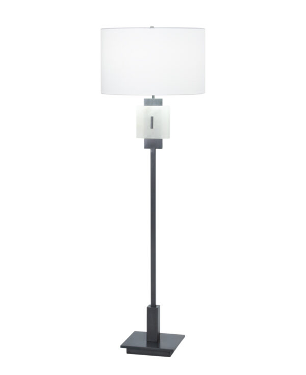 FlowDecor Rose Floor Lamp in metal with gunmetal finish and alabaster and off-white cotton drum shade (# 4523)