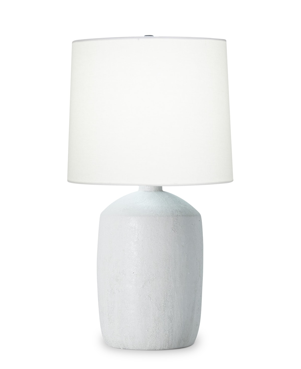 FlowDecor Sarah Table Lamp in ceramic with white finish and off-white linen tapered drum shade (# 4504)