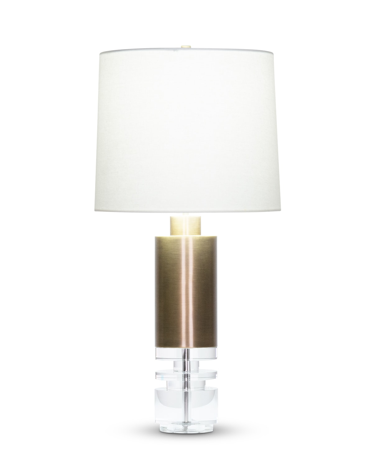 FlowDecor Scott Table Lamp in crystal and metal with antique brass finish and off-white cotton tapered drum shade (# 4527)