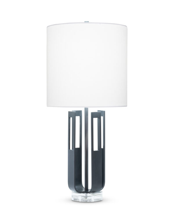 FlowDecor Tripp Table Lamp in metal with gunmetal finish and crystal base and white linen drum shade (# 4520)