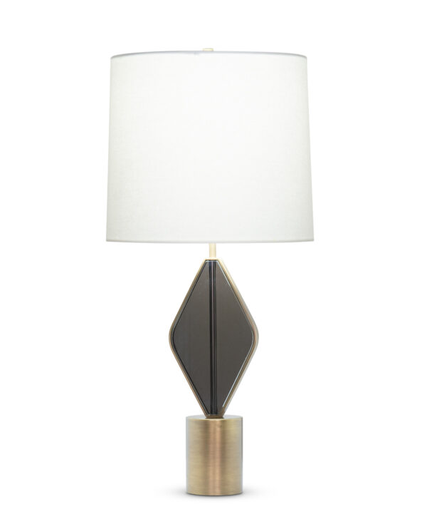 FlowDecor Tyler Table Lamp in crystal with smoked and metal with antique brass finish and off-white linen tapered drum shade (# 4528)